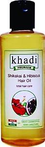 Khadi Premimum Herbal Shikakai & Hibiscus Hair Oil (Total Hair Care) 210 Ml