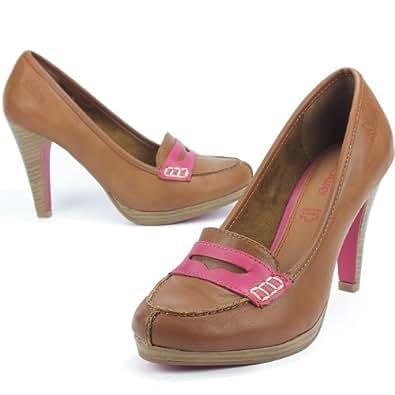s.OLIVER Damen College-Pumps, High Heels, Plateau, Decksohle Leder, tobacco braun-pink, Größe:41