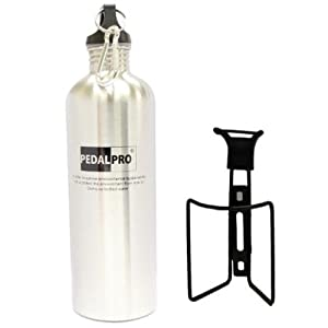 PedalPro 750ml Stainless Steel Bicycle Bottle & Metal Bottle Cage