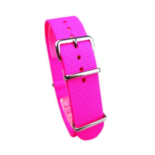 霓虹粉色 #fl0220 北约尼龙表带 [霓虹粉红色和荧光粉色 20] 尼龙带时钟和更换皮带 20 毫米弹簧杆 & 原置换手册中删除