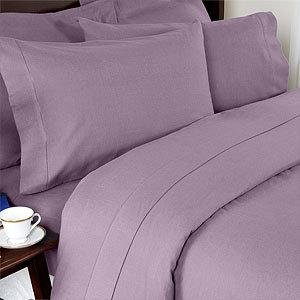Percale Queen Size 300 Thread Count Solid Lilac Sheet Set 100 % Egyptian Cotton (Deep Pocket) By Sheetsnthings