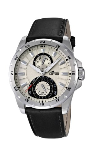 d24255d5fbb9 Lotus Men s Quartz Watch with Beige Dial Analogue Display and Black Leather  Strap 15844 1