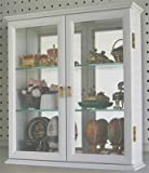 Wall Mounted Curio Cabinet / Wall Display Case with glass door, Solid wood, CD05C-WH
