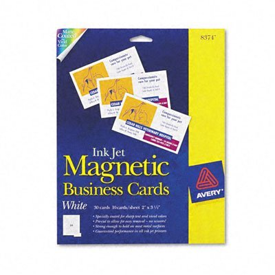 Avery Ink Jet Magnetic Business Cards, 10 Precut Cards/Sheet, 30 Cards/Pack (8374) at Amazon.com