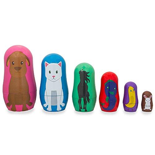 45-Set-of-6-Dog-Cat-Horse-Fish-Chick-Bunny-Animal-Friends-Plastic-Nesting-Dolls