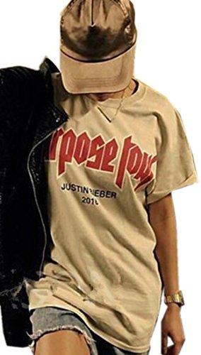 Laruise -  T-shirt - Tunica - Tie-Dye - Collo a U  - Maniche corte  - Uomo Beige XX-Large