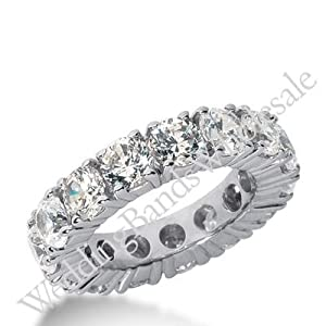 950 Platinum Diamond Eternity Wedding Bands, Prong Setting 6.50 ct. DEB10345PLT - Size 10