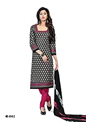 DARPAN TEXTILES Ethnicwear Women's Dress Material Black_Free Size