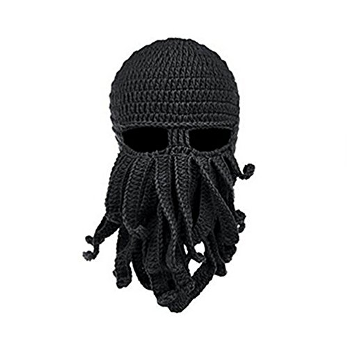 Herebuy8 Octopus Winter Warm Knitted Wool Ski Face Mask Knit Beard Squid Beanie Hat Cap (Black)