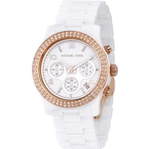 Michael Kors Mk5269 Ladies Watch with White Ceramic Bracelet, Stone Set Rose Gold Bezel and White Dial