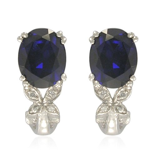 Sterling Silver Oval-Shaped Created Blue Sapphire with Round-Cut Cubic Zirconia Earrings