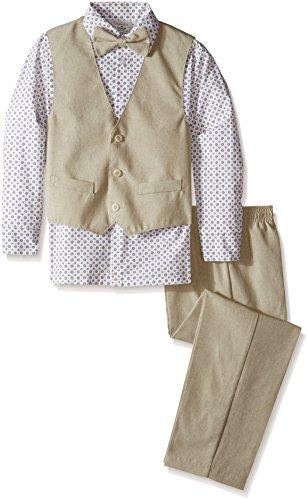 Perry Ellis Big Boys' Heather Poplin Vest Set, Turtle Dove, 14