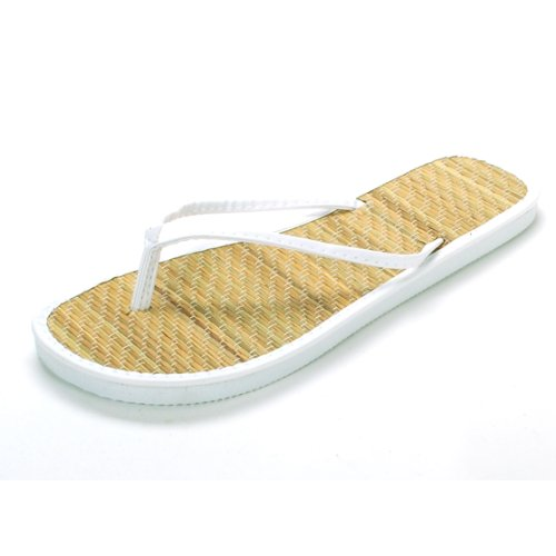 La Beauty Women'S White Bamboo Flip Flops Size 9 M Us