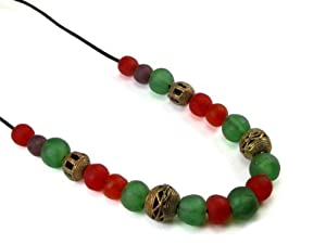 African Recycled Glass Beads and Nigerian Brass Globe Bead Necklace