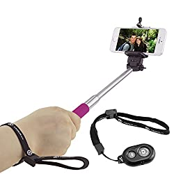 CamKix Extendable Selfie Stick with Bluetooth Remote for Smartphones - With Universal Phone Holder up to 3.25 Inch in Width - Adjustable Handheld Monopod 11 - 40 - Light, Compact, Easy to Carry