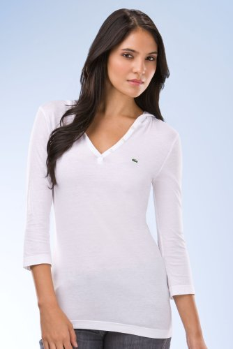 3/4 Sleeve Cotton Jersey Hooded Henley T-Shirt