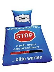 "Global Labels G 99 600 RL19 120 ""Morgenmuffel"" Bettwäsche, Renforce, 135 x 200 cm und 80 x 80 cm"