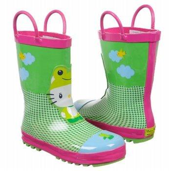 Western Chief kids Hello Kitty Froggy Rain Boot,Green,2 M US Little Kid