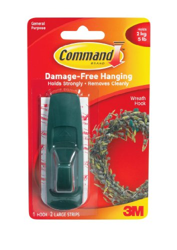 3M Command 17003GR Green Large Hook with Adhesive Strips