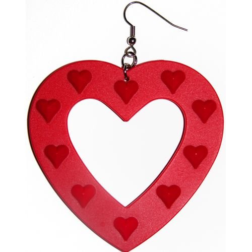 Big Plastic Heart Earrings In Red with Silver Finish