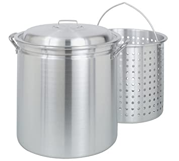 Bayou Classic 4060 60-Quart All Purpose Aluminum Stockpot with Steam and Boil Basket