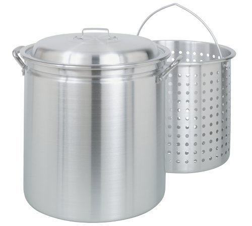 Make seafood boil in a Bayou Classic 60-Quart All Purpose Aluminum Stockpot with Steam and Boil Basket