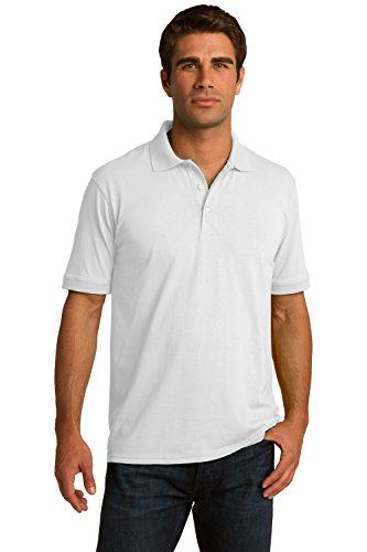 Sportoli Men's Cotton Blend Solid Everyday Uniform Short Sleeve Polo Shirt Top - White (2X-Large)