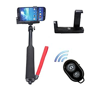 SunSmart Extendable Telescopic Waterproof Self-portrait Photo Selfie Handheld Stick Monopod with Adajustable Extendable monopod mount Phone Camera Holder for iPhone 5/5s 6 6 plus Samsung Camera and Bluetooth Wireless Remote Controller Camera Shutter Release Self-timer for IOS Android Smart-phone
