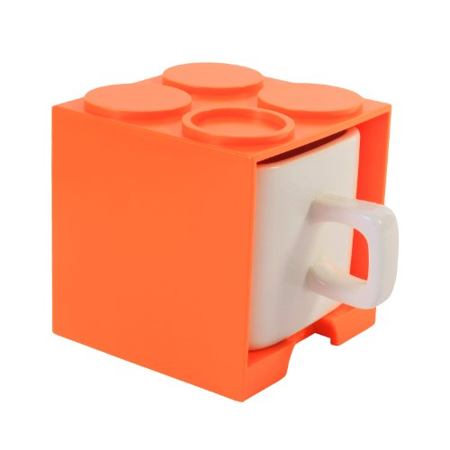 Cube Mug (Orange), Stackable Coffee Mug, Ceramic Mug With Plastic Cube