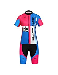 Riposte Women's Spring/Summer Cycling Compression T-shirts + 3D Coolmax Padded Shorts Cyling Clothing Set(Le Tour...