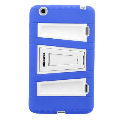 MINITURTLE, Dual Tone Rugged Shell Protective Hybrid Tablet Case Cover with Built-in Kickstand and Stylus Pen for Android Tablet LG G Pad 8.3 V500 (White / Blue)