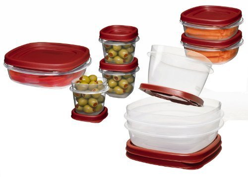 Rubbermaid FG7K3900CHILI Easy Find Lid 18-Piece Food-Storage Container Set with Lids