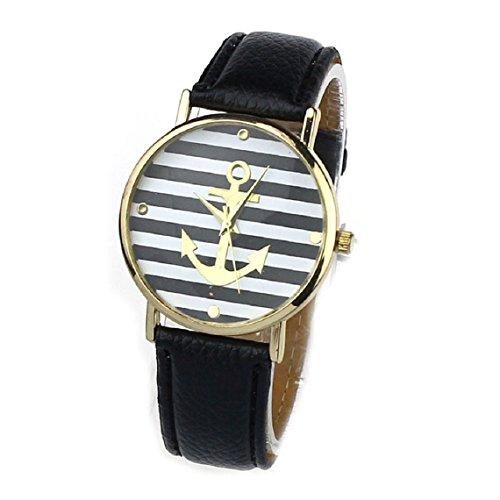 Zps(Tm) Women Leather Stripes Anchors Pattern Wristwatch Quartz Watch (Black)