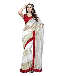 Shyam Creation new White Heavy net saree