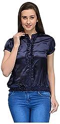 Vemero Women's Cap Sleeve Top (VCT-0019-BLU_X-Large, Navy Blue, X-Large)