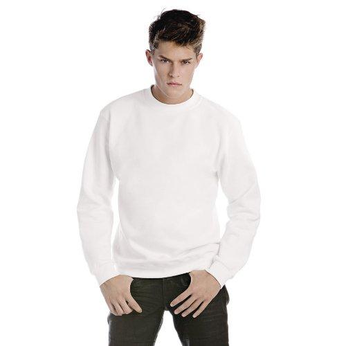 B&C Mens Crew Neck Sweatshirt Top (S) (White)
