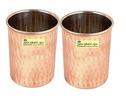 SHIV SHAKTI ARTS Handmade Steel Copper Hammered Glass Set of 2