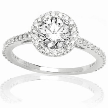 1 Carat Round Cut/Shape Classic Yet Unique Halo Style Pave Set Diamond Engagement Ring 14K White Gold with a 0.57 Carat (I-J Color, I2 Clarity)