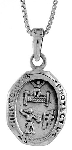Tennis Sterling Silver St. Christopher Pendant