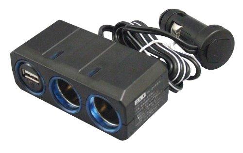 槌屋ヤック  電源ソケット リングライトソケットツイン+USB2 PZ-610