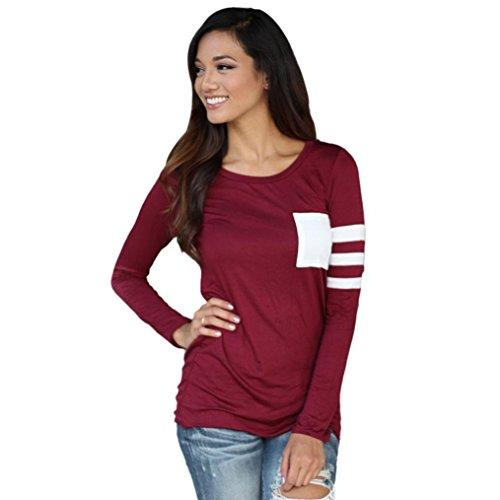 Fortan Womens girocollo manica lunga camicia Spliced camicetta supera maglietta (Medium, Rosso)