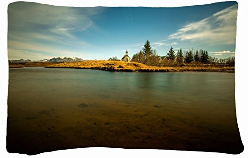 Microfiber Peach Standard Soft And Silky Decorative Pillow Case (20 * 26 Inch) - Landscapes Lake Temple Landscape front-860996
