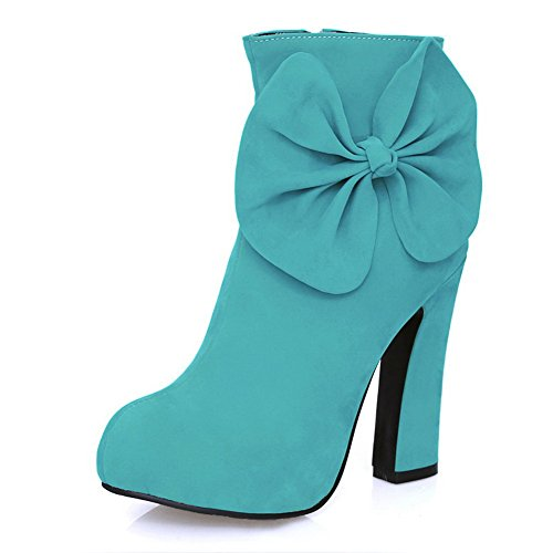 VogueZone009 Womens Closed Round Toe High Heels PU Short Plush Rubber Solid Boots with Bowknot