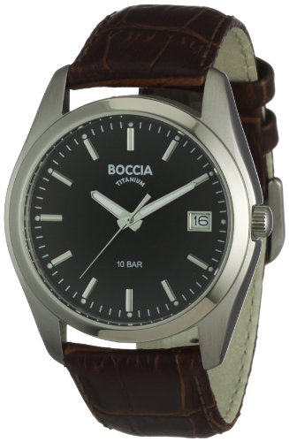 Boccia Men's Titanium Leather Strap Watch B3548-02
