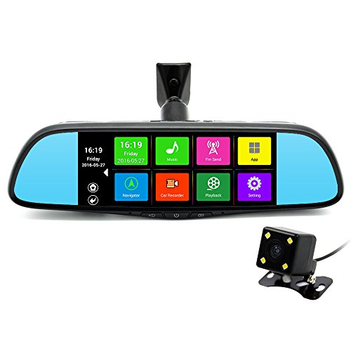 "junsun 7"" GPS Navigation Mirror Bluetooth Touch Special Android 16GB for Ford Car DVR Dual Lens Camera Rear WiFi FM Transmit"
