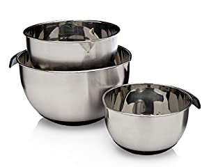 Francois et Mimi 16/20/24cm Food-Grade 3-Piece Stainless Steel Mixing Bowl Set with Easy-Grip Silicone Handles and Lids, with pour spouts Mixing Bowls