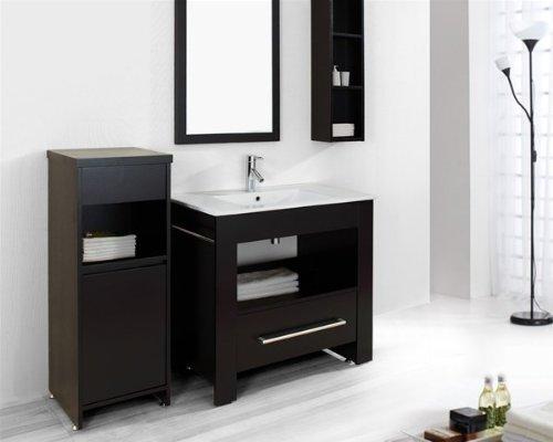 Virtu USA ES-2436-ES Masselin 36-Inch Single Sink Bathroom Vanity with Mirror, White Ceramic Countertop and Wall-Mount Shelf, Espresso Finish