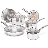 T-fal C836SA 10 Piece Ultimate Stainless Steel Copper Cookware Set