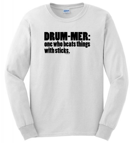 Definition Of A Drummer Long Sleeve T-Shirt Large White