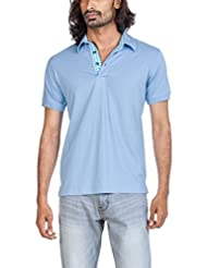 Zovi Men's Cotton Aviator Blue Solid Polo T-shirt With Contrast Placket (10353901201)